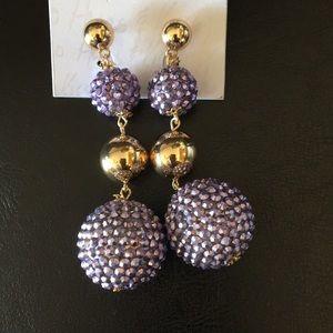 XOXO 4 tier Ball Earrings Gold & Purple